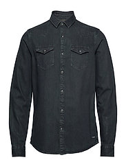 Ams Blauw denim western shirt in seasonal washes - BLACK