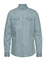 Ams Blauw denim western shirt in seasonal washes - BLEACHED INDIGO