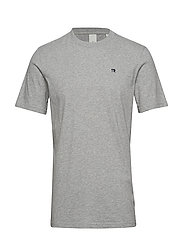 Cotton tee with wider neck rib - GREY MELANGE