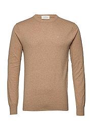 NOS Cotton cashmere crewneck knit - CAMEL MELANGE