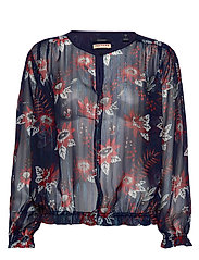 Drapey top in floral prints with elastic detailing - COMBO B