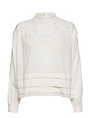 Feminine drapey top with special lace detailing - OFF WHITE