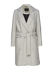 Wool wrap coat with belt - GREY MELANGE