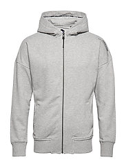 Zip-through hoody with dropped shoulder styling - GREY MELANGE