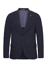 Classic half-lined summer seersucker blazer - MIDNIGHT