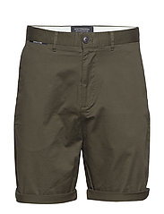Mid length - Classic chino short in pima cotton quality - MILITARY