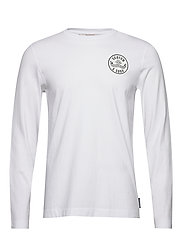Organic cotton longsleeve tee with chest artwork - WHITE