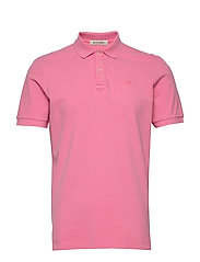 Garment-dyed stretch pique polo - HIBISCUS PINK