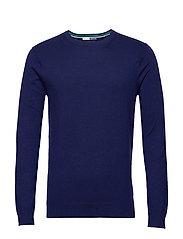 Ams Blauw cotton cashmere crew  neck pull - SACRE BLUE