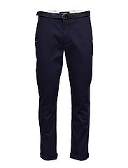 Stuart peached twill chino with give away belt - MIDNIGHT
