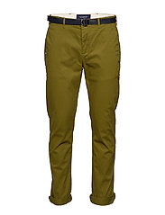 Stuart peached twill chino with give away belt - MILITARY GREEN