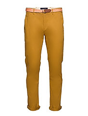 Stuart peached twill chino with give away belt - SANDLEWOOD