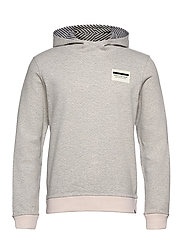 Reversible hooded sweat with chest print - GREY MELANGE