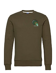 Crewneck with chest embroidery - MILITARY GREEN