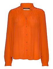 Feminine shirt with pleated detailing - ORANGE SHELL
