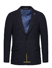 Classic single-breasted neps wool-blend blazer - COMBO A