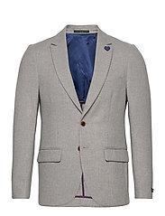 Classic single-breasted neps wool-blend blazer - STONE MELANGE