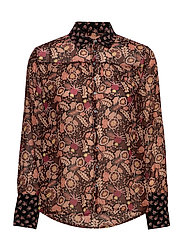 Button through shirt in mixed prints - COMBO A