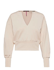 Soft sweat with open neck and volumnious sleeves - ECRU
