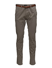 Slim fit cotton/elastan garment dyed chino pant - GREY