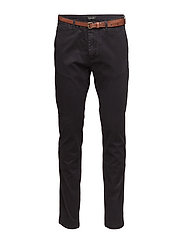 Slim fit cotton/elastan garment dyed chino pant - NIGHT