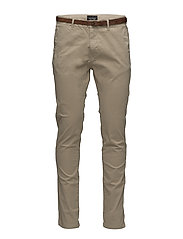 Slim fit cotton/elastan garment dyed chino pant - SAND