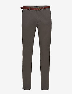 Slim fit cotton/elastan garment dyed chino pant - chinos - charcoal