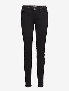 NOS - Garment dyed basic skinny in sateen quality - BLACK