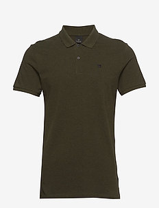 - Classic polo in pique quality with clean outlook - kortærmede - military melange