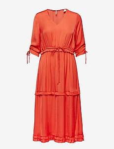 Midi length dress with v-neck and ruffles - CORAL