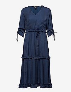 Midi length dress with v-neck and ruffles - NIGHT