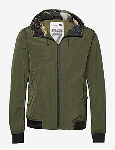 Short hooded nylon jacket - MILITARY