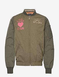 Nylon bomber jacket with artworks - ARMY