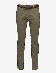 Classic garment dyed chino pant in stretch cotton quality - SAGE