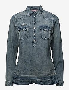 Denim blouse with over-dye - 51 INDIGO