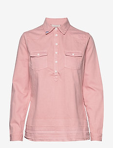 Denim blouse with over-dye - CHERRY BLOSSOM