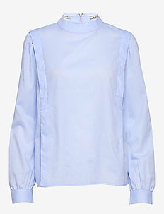 High neck woven top with voluminous sleeves and zip detail - SKY BLUE