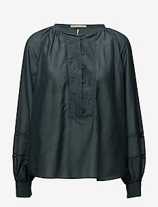 Cotton silk tunic top with voluminous sleeves and small ladd - PETROL GREEN