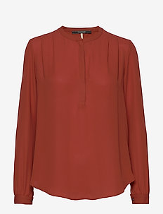 Long sleeve silky feel top with pleat details at the shoulde - BURNT ORANGE