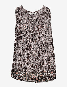 Sleeveless viscose printed top in a mix of animal prints - COMBO X