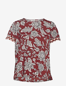Short sleeve printed top with contrast print at the sleeves - COMBO A