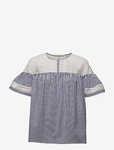 Short sleeve striped top with lace yoke and ruffle sleeves - COMBO S