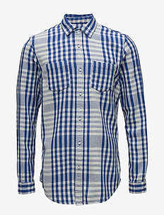 Relaxed fit bold tea towel checked shirt in broken twill qua - COMBO B