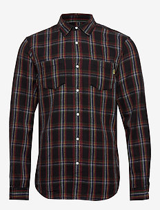 Relaxed fit bold tea towel checked shirt in broken twill qua - COMBO C