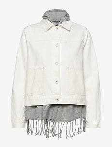 White and ecru denim jacket with detachable inner scarf - OFF WHITE