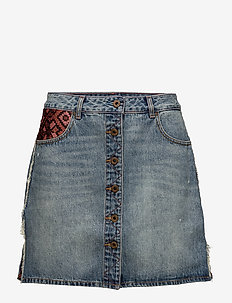 Seasonal denim skirt with button trough front closure and cu - SEASONED