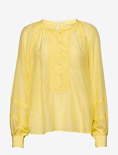 Cotton silk tunic top with voluminous sleeves and small ladd - LEMON YELLOW