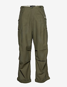 Ams Blauw oversized cargo pant with heavy wash - MILITARY GREEN