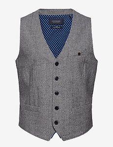 Classic gilet in wool blend quality with neps - COMBO C