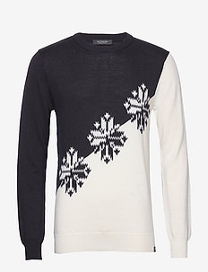 Lightweight crewneck pullover with intarsia pattern - COMBO B